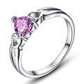 JROSE Love Jewelry Wedding Engagement Rings for Women Solitaire Heart  Pink Topaz 18K White Gold Plated Fashion Ring Hot Sale
