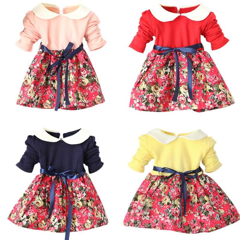 Kids Baby Girls Princess Long Sleeve Pleat Floral Bow Party Tutu Mini Dress 1-5T YRD(Hong Kong)