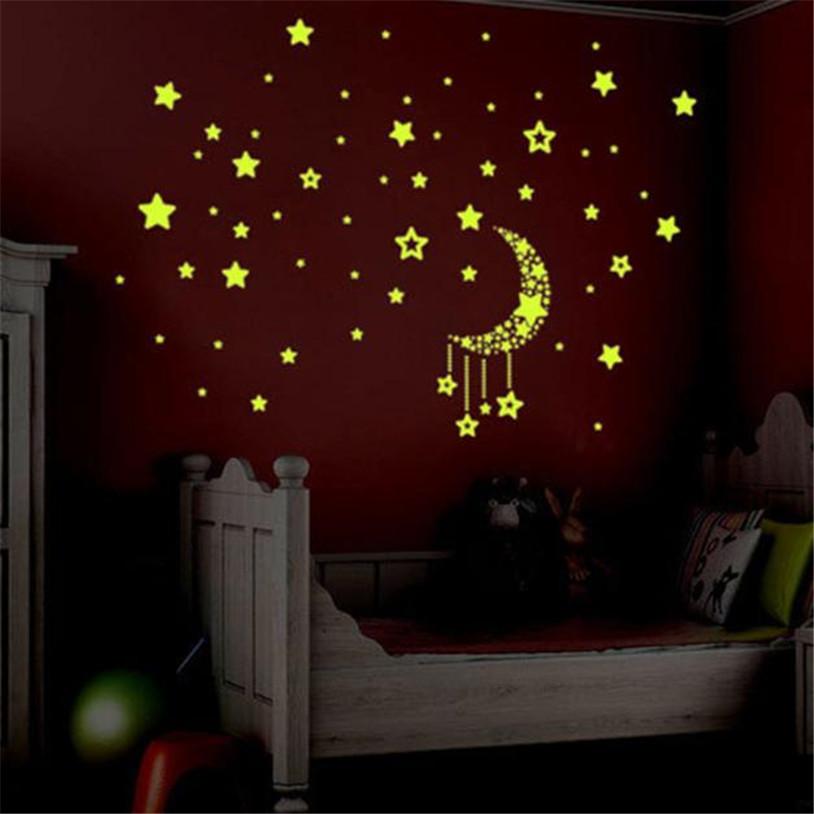 set kids bedroom fluorescent glow in the dark stars wall stickers