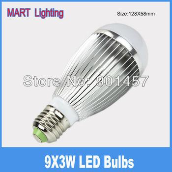 Free shipping 27W e27 led  light bulbs lamp SMD  day/warm white high power globe lights bulb