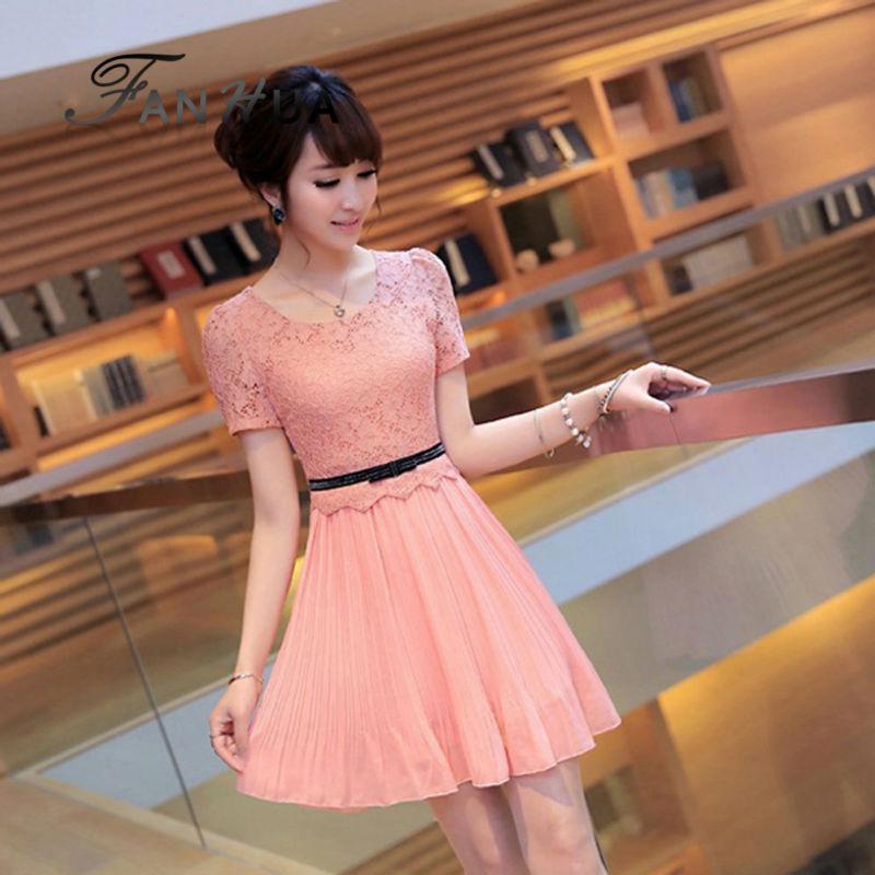Cute Pink Lace Sólidos O Pescoço Caixilhos Decoração Plissado Vestidos Novo Designer de Roupas Por Atacado Para As Mulheres(China (Mainland))