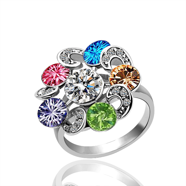 KR57 Multicolour Crystal 18K Gold Plated Ring Health Jewelry Nickel Free Plating Platinum Austrian Crystal SWA Element(China (Mainland))