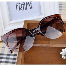 2015 Summer Style Cat Eye Sunglasses Women Eyewear Semi Rimless Sunglasses Super Round Circle Cat Eye