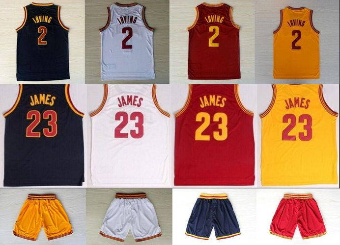 2016 new cheap 23 LeBron James Jersey 2 Kyrie Irving Jersey 0 Kevin Love Blue Yellow Red Stitched Basketball Jersey and shorts(China (Mainland))