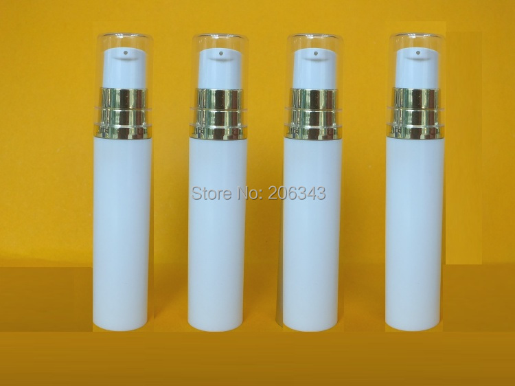10MLwhite airless  bottle or lotion bottle  with gold collar   transparent lid   for comsmetic packing<br><br>Aliexpress
