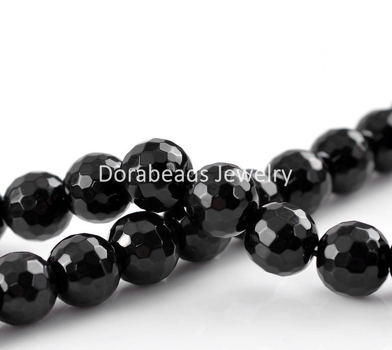 Synthetic Agate Gemstone Beads Round Black Faceted 10mm Dia,35cm long,1 Strand,approx 36PCs (B22119)(China (Mainland))