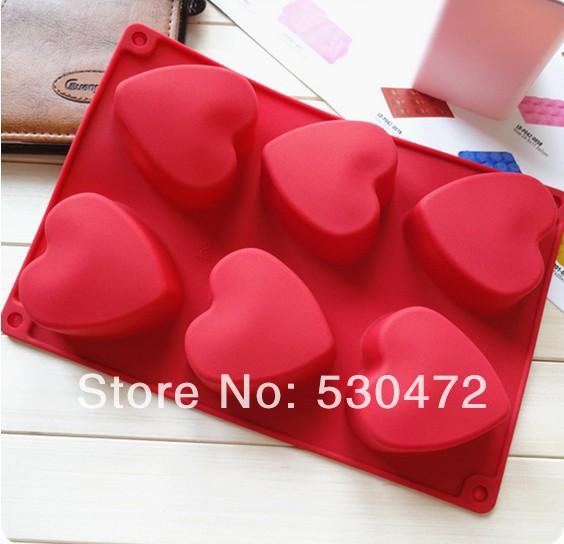 6 hole Heart-shaped Silicone cake mold / Handmade Soap mold / chocolate mold / Ice Cube Tray 26.8*18.2* 3.3CM