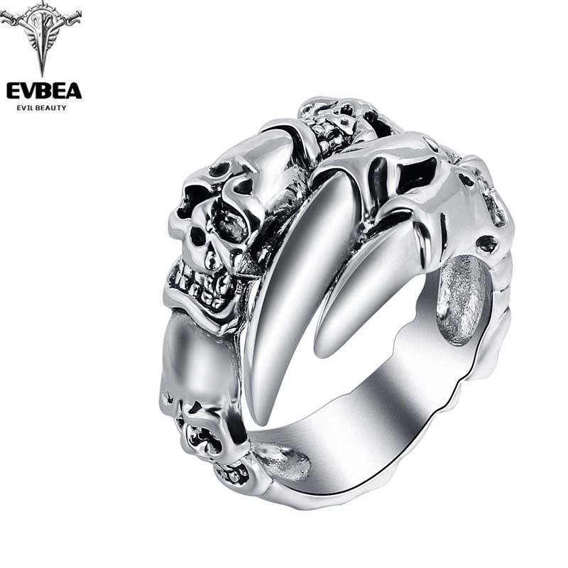 Titanium Alloy EVBEA Rock Roll Punk Skull Animal Snake Silver Rings Men's Party Jewelry Accessories(China (Mainland))