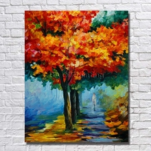 Buy BA Oil Painting Big Size High Big Red Tree Landscape Art Oil Painting Home Decor Wall Art Cheap Paintings Framed for $13.09 in AliExpress store