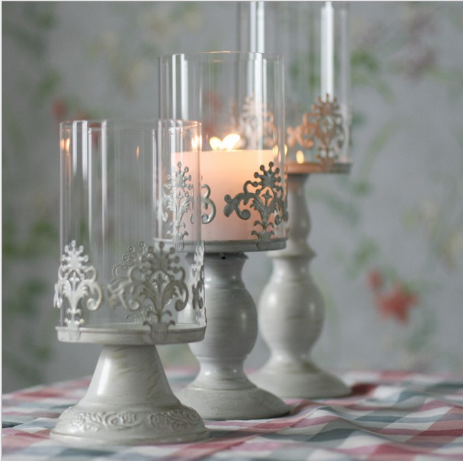 High quality mousse fashion romantic vintage iron glass candle holder/stand 3pcs/set KM1902(China (Mainland))