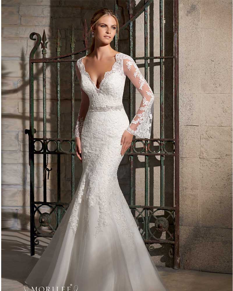 Vestido de noiva manga longa sexy open back lace long for Wedding dress with sleeves and open back