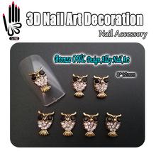 Nail Art Decoration 10pcs/Lot 3D Bronze OWL Design Black+Clear Rhinestone Alloy Nail Art Decorations for Nail Jewelry(China (Mainland))