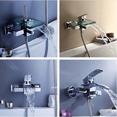 5-Style Bathroom Faucet Bath Shower Faucet In-Wall Waterfall Mixer Tap Bathtub Crane bathroom shower faucet set(China (Mainland))