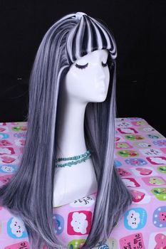 [Monster High] Frankie 60cm Synthetic Hair Long Straight Black-White Cosplay Wig