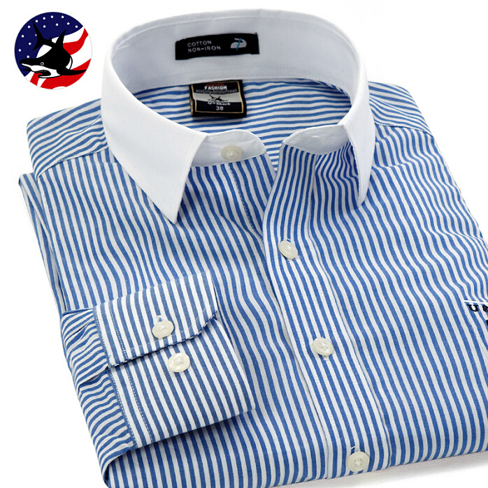 2016 casual mens long sleeve blue striped shirt u shark for Blue and white striped shirt with white collar
