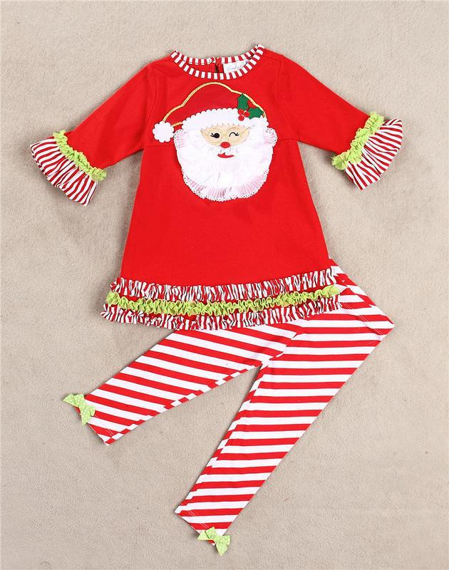 Baby Girls Christmas 2 pcs set Red Snowman Lace Ruffled sleeves tunic & leggings with bow 2 pcs outfit New Year 2015(China (Mainland))