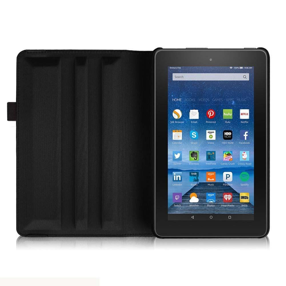 For Amazon Kindle Fire 7 2015 Model 360 Rotate Leather Case Cover Stand Black best case for tablet tablet protection cover A273(China (Mainland))