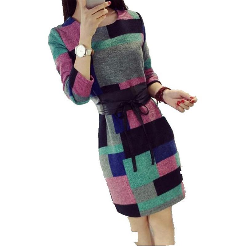 2016 New Autumn Women Dress Round Neck Long Sleeve Fashion Woolen font b Tartan b font
