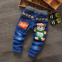 Spring/ Autumn kids Jeans Long Pants baby For boys Girls Children jeans trousers Washable Blue Bear 2-7T