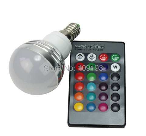 Enengy Saving RGB LED Lighting Lamp 3W E14 16 Changing Colors RGB LED Light Bulb + IR Remote Controller 85-265V(China (Mainland))