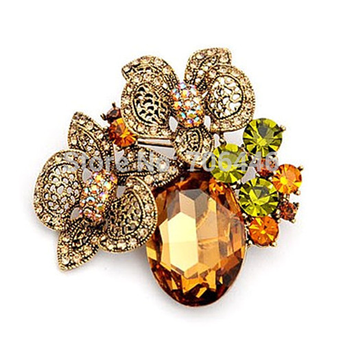 Vintage Antique Gold Plated Champagne Color Beautiful Flower Brooches Glass Stone - Yiwu Liangqian Accessories Firm (Mini Order>$8 store)