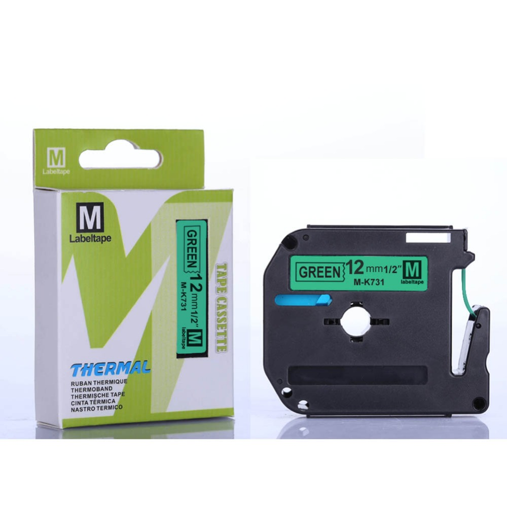 Free 2pcs MK731 M-K731 black green 12mm x 8m compatible Brother ptouch P-toucher PT-70 PT-80 printers