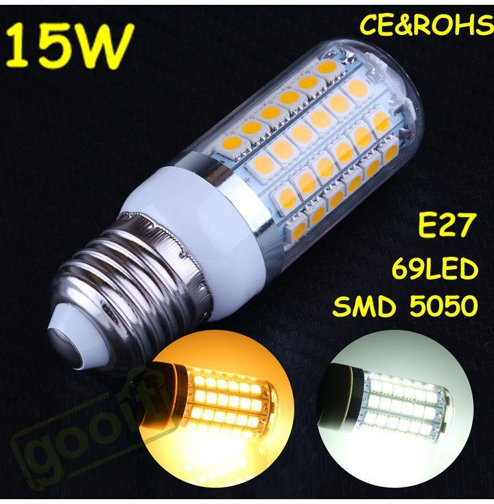 2014 NEW High Brightness 360 degree15W LED lamps E27 5050 69LEDs Corn LED Bulbs 220V 15W 5050 SMD Lamp Spotlight<br><br>Aliexpress