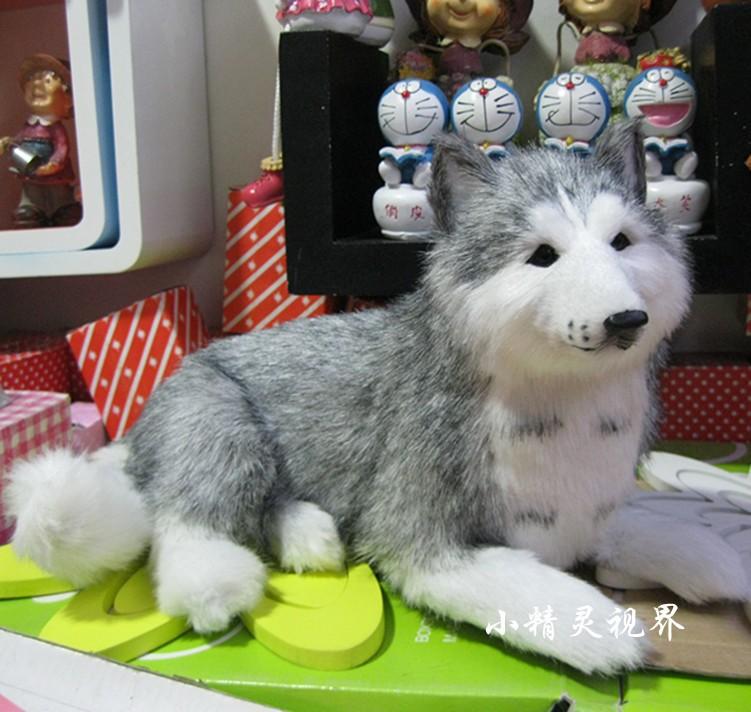 plush lovely simulation husky dog toy emulaiton lying husky dog doll gift about 30x22cm<br><br>Aliexpress