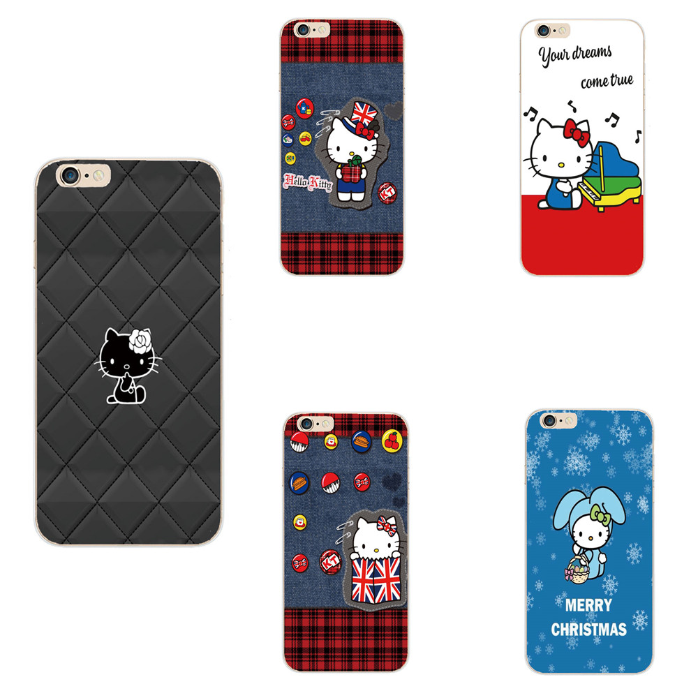 Hello Kitty Bow Cat Case For iPhone 6 6s Plus Printed Soft rubber TPU Cover Cell Phone Cases For iPhone 6s Plus 4 4S 5 5S 5C SE(China (Mainland))