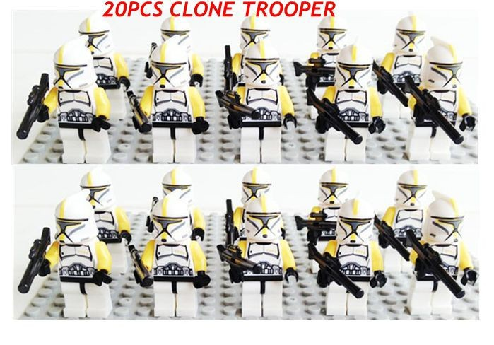 20pcs/lot New SY195 Star Wars white clone troopers soldier with yellow arm minifigures building block bricks kids education toys(China (Mainland))
