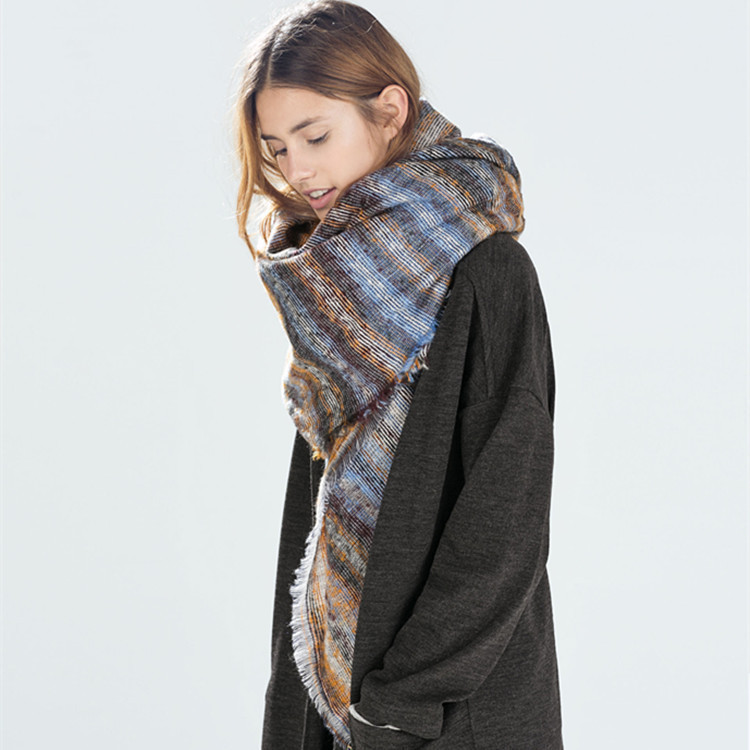 The new square stripe jacquard warm shawl scarf Europe and America female autumn and winter colorful long scraf(China (Mainland))