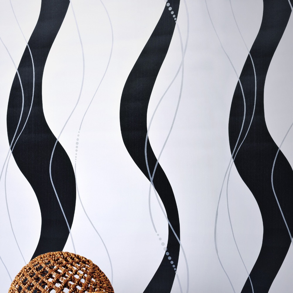 wallpaper picture  more detailed picture about geometric striped  -  geometric striped wallpaper wave line curve abstract wall paper blackwhite modern wallpaper roll
