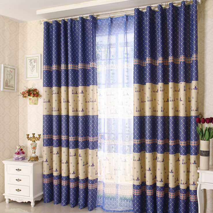 Special price living room bedroom balcony shade curtain 2 color called Aegean Sea environmental print customize window drape(China (Mainland))