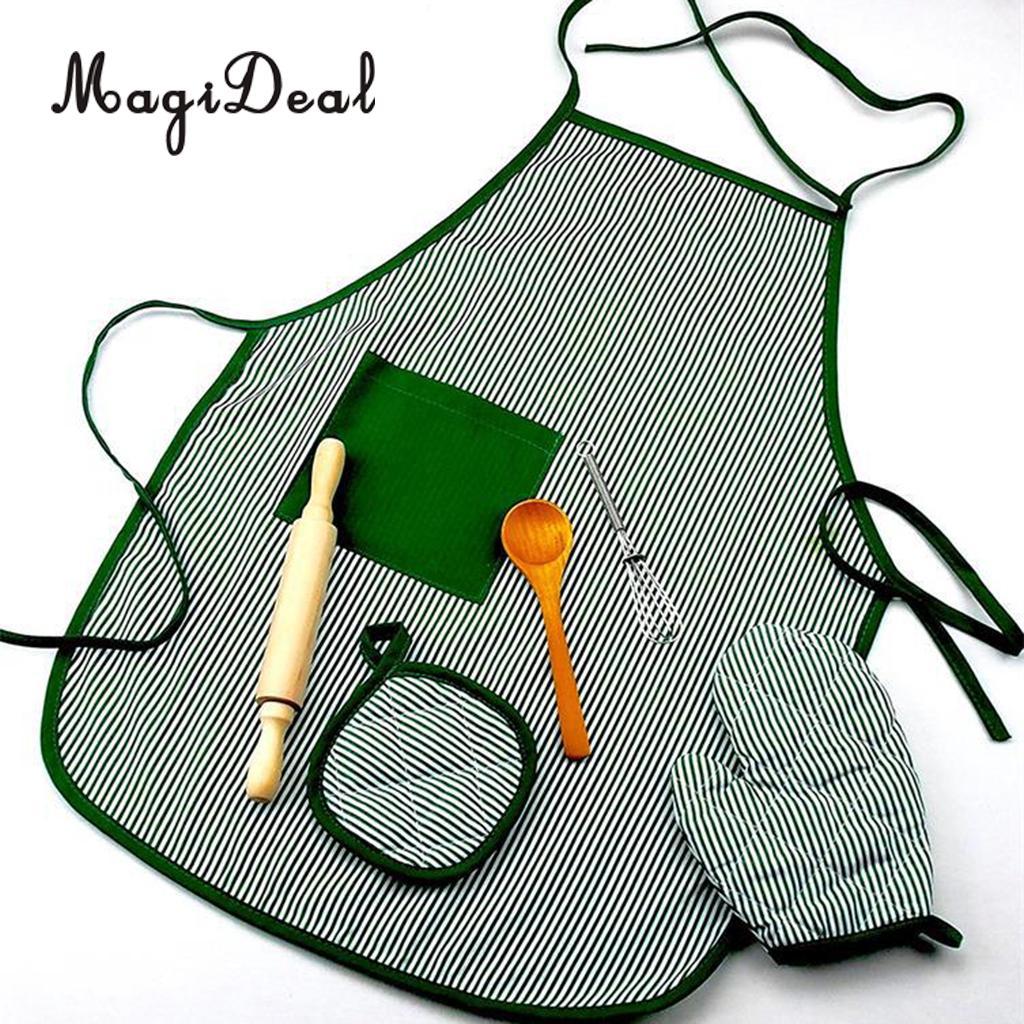 Kitchen Cooking Set, Baking Cake Food Toy Kids Apron & Chef Glove set, Whisk Rolling Pin Tool Utensils Pretend Play Game