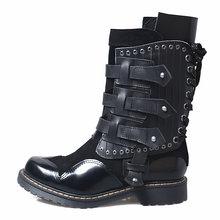 Ingiliz Moda kış botu Ayakkabı Kadın Yuvarlak Ayak Martin Bota Feminina Tasarımcı Motosiklet Botları Hakiki Deri Daireler Boots(China)