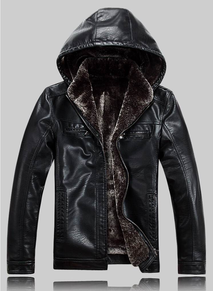 Hot!!! Brand luxury fur genuine  leather men,men's fur coat very warm in winter leather jackets with hood,M-5XL, Free shipping(China (Mainland))