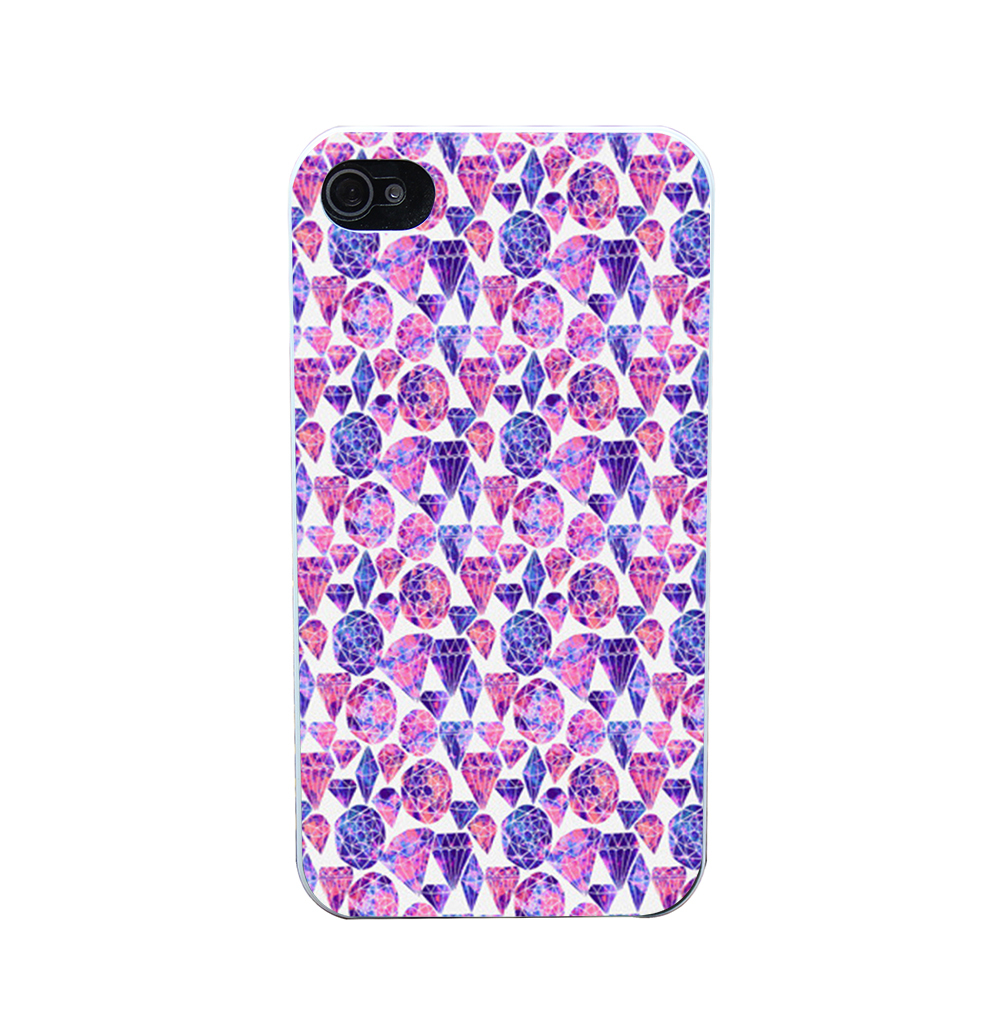 1184O Painted Gemstones In Cool Tones Style Phone Case Shell Hard White Case Cover for iPhone 4 5 6 s plus(China (Mainland))