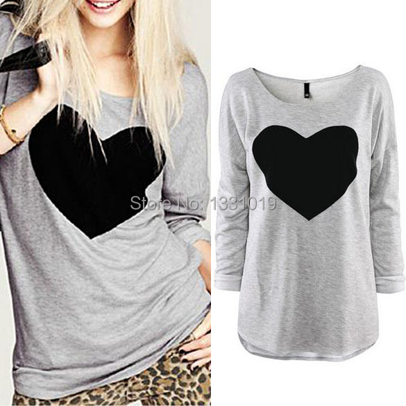2015 New Autumn Winter Women Lady Cute Heart Love Round Neck Long Sleeve Casual Top T shirt Blouse Grey KSKS(China (Mainland))