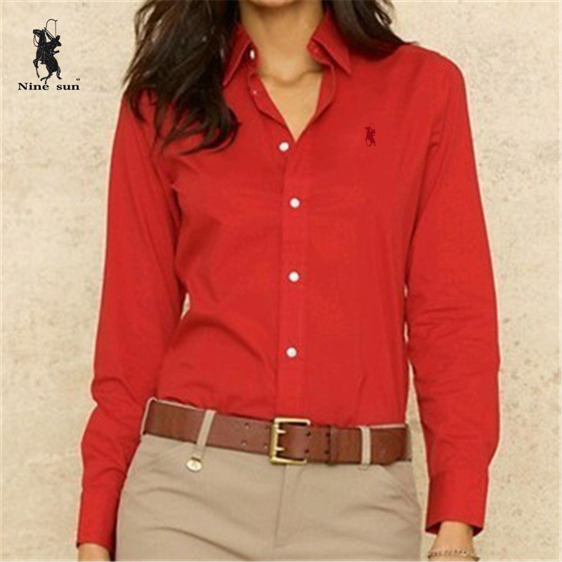 Women embroidery little horse shirt blusas polo shirts