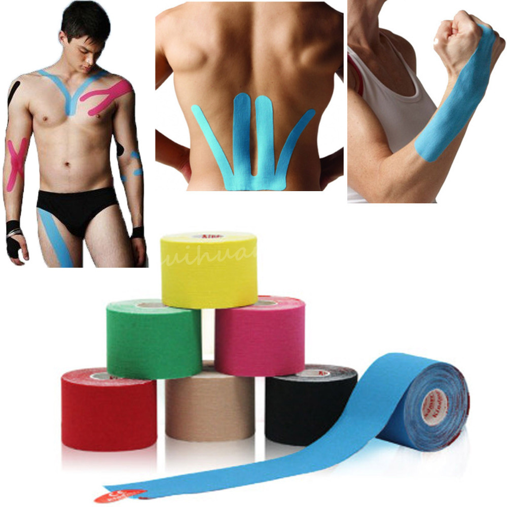 Muscle Elbow Knee Pads Kinesiology Kinesio Sports Tape 5cm x 5m Roll Waterproof Black Blue Rose Green Yellow Skin Red  (China (Mainland))