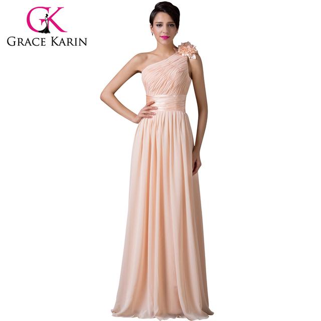 Грейс карин абрикос одно плечо шифон вечерние платья полной длины ну вечеринку платье ...
