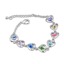 2015 Hot Sale Limited Id Bracelets Women Box-with-tongue Bijoux Jewelry Sterling Jewelry Austria Crystal Bracelet - Heart Knot (China (Mainland))