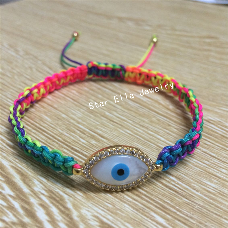 New Hand made natural mother of pearl shell evil eye braiding rope bracelet for gift(China (Mainland))
