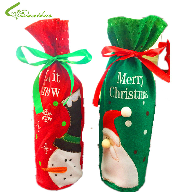 Christmas Santa Claus Red Wine Bottle Cover Bag Christmas Dinner Party Home Christmas Bag Decorations for Home Christmas Gift(China (Mainland))