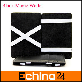 2015 Fashion New Black Magic Money Clip Business Card Cash Clutch Wallet with White Band Wallet Free Shipping