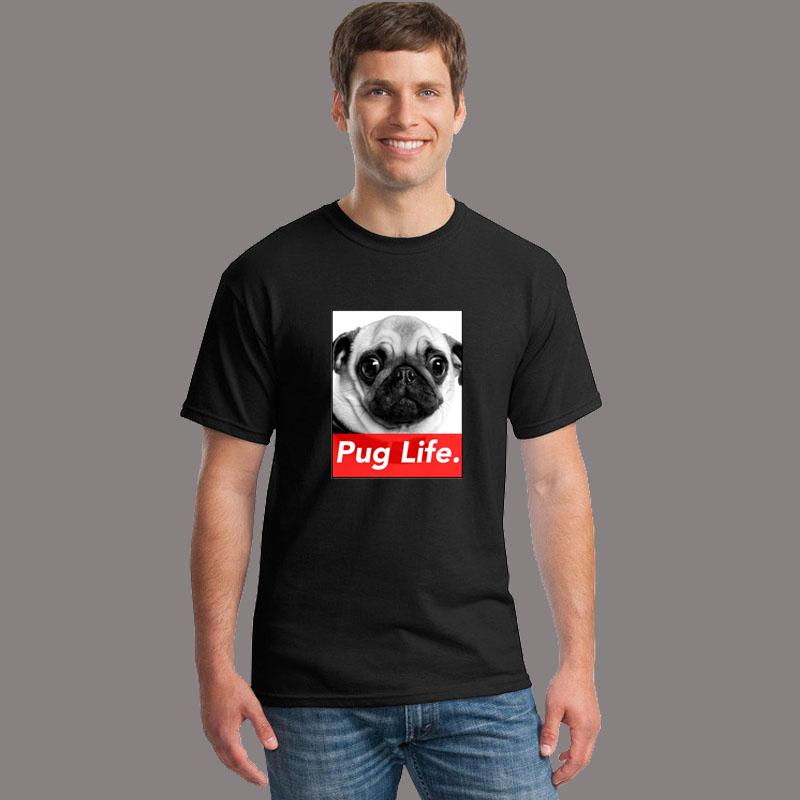 Cute pug life print brand men's Cotton Harajuku Casual t shirts candy colors men o neck shorts sleeve Top Tees shirts S-XXXXL(China (Mainland))