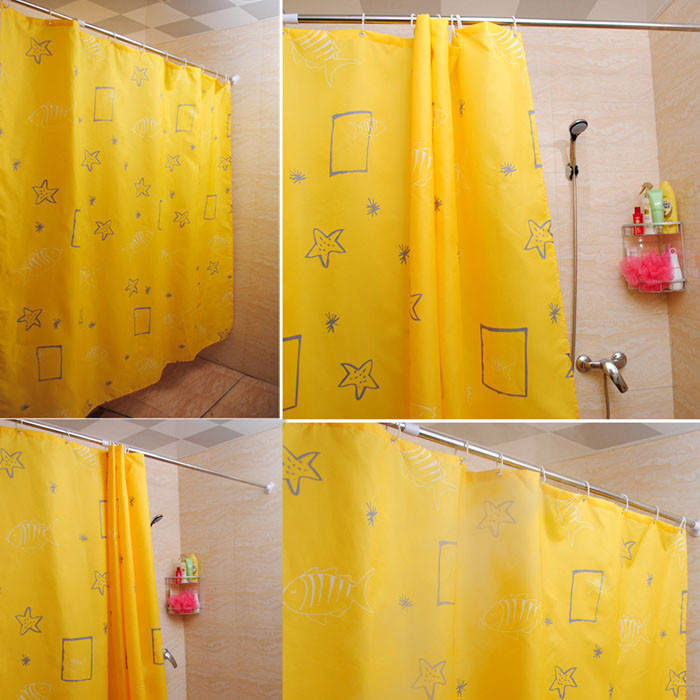Yellow bathroom curtains