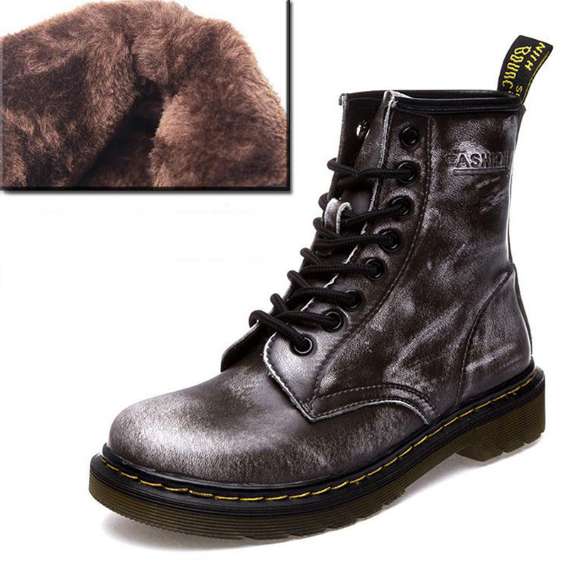 New England Style Genuine Leather Martin boots Men Women Dr Designer Fur Ankle Boots Motorcycle Winter shoes botas mujer(China (Mainland))