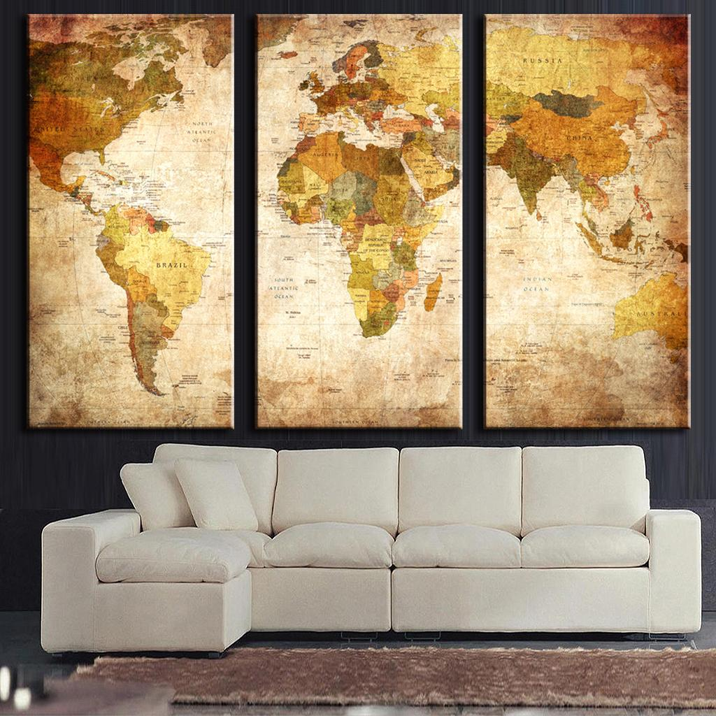 3 Pcs/Set Vintage Painting Framed Canvas Wall Art Picture Classic Map Canvas Print Modern Wall Paintings Top Home Decoration(China (Mainland))