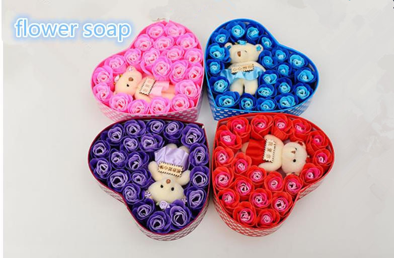 soap flower romantic bear and flower soap gift box four color soap body clean(China (Mainland))